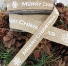 Merry Christmas & Snow Flake Faux Linen Ribbon